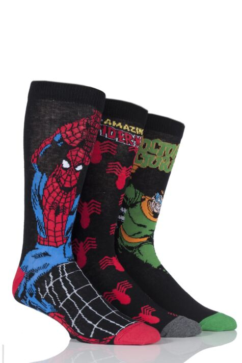 Mens 3 Pair SockShop Marvel The Amazing Spider-Man and Doctor Octopus Cotton Socks Product Image