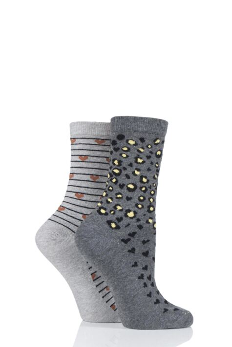 Ladies 2 Pair Charnos Cotton Animal and Hearts Socks Product Image