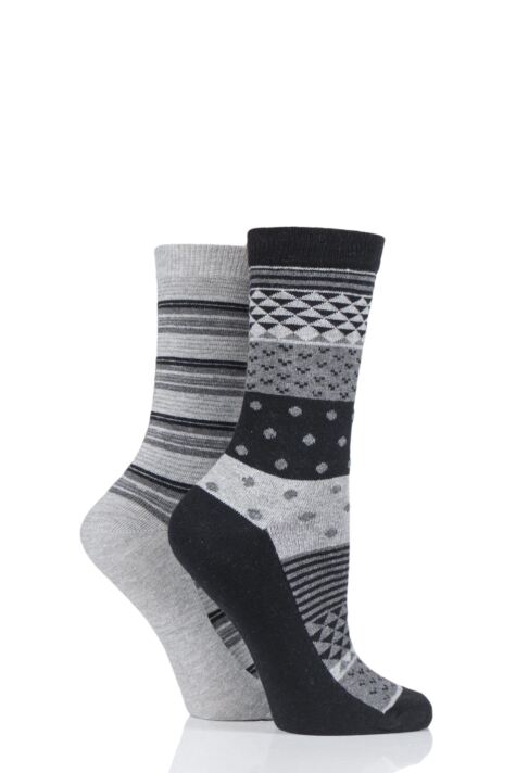 Ladies 2 Pair Charnos Cotton Geo Print and Stripes Socks Product Image