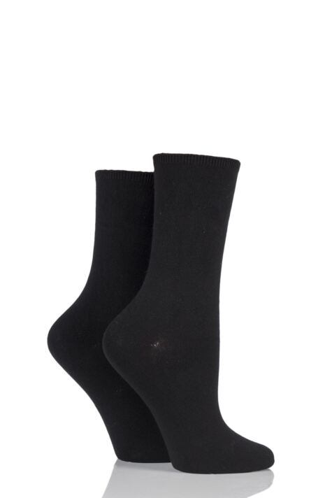 Ladies 2 Pair Charnos Comfort Top Crew Socks Product Image