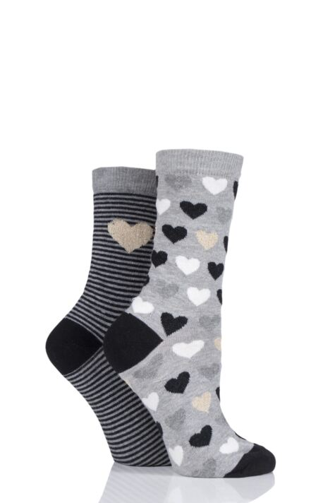 Ladies 2 Pair Charnos Hearts Cotton Socks Product Image