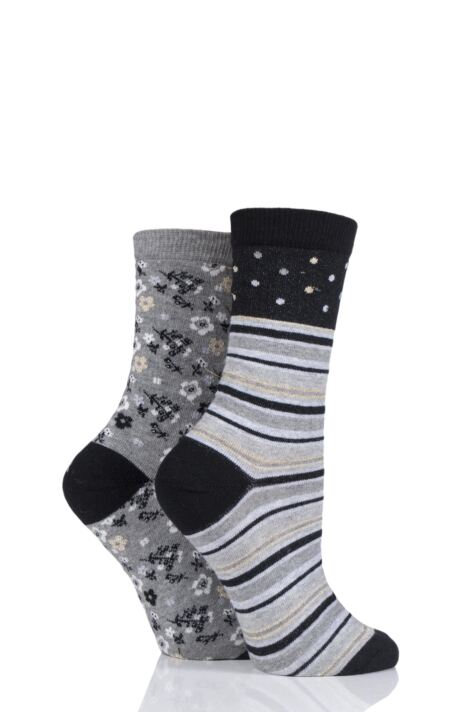 Ladies 2 Pair Charnos Stripe and Floral Cotton Socks Product Image