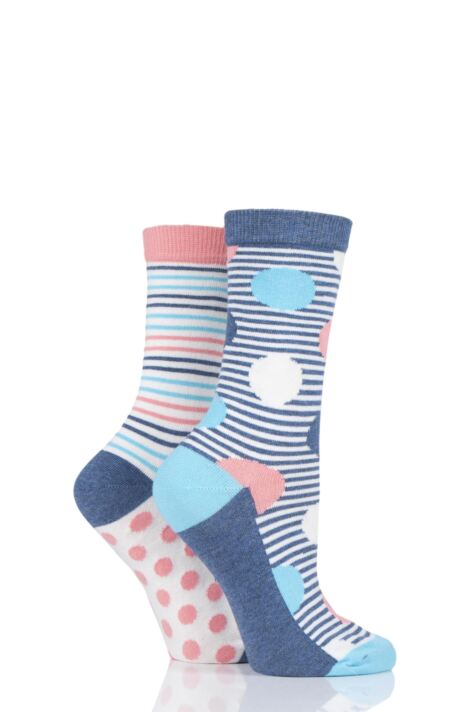 Ladies 2 Pair Charnos Spot and Stripe Socks Product Image