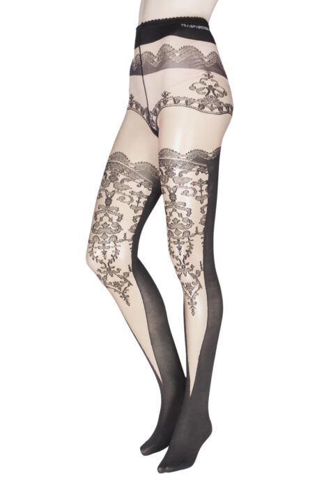 Ladies 1 Pair Trasparenze Champagne Mock Hold Up Tights Product Image