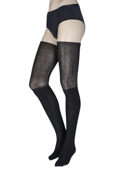 Ladies 1 Pair Tavi Noir Charlie Thigh High Yoga Organic Cotton Socks with Grip Product Image