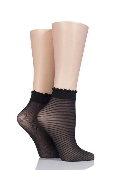 Ladies 2 Pair Charnos Trouserwear Stripe and Net Ankle High Socks Product Image