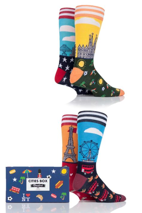Mens 4 Pair Moustard World Cities Cotton Socks In Gift Box Product Image