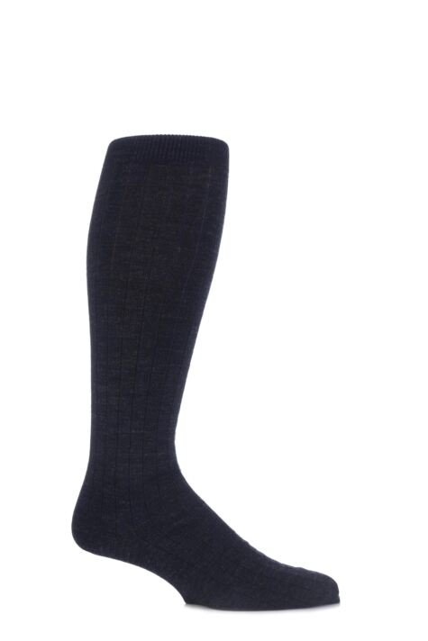 Mens 1 Pair Viyella Knee High Wool Ribbed Socks With Hand Linked Toe Product Image