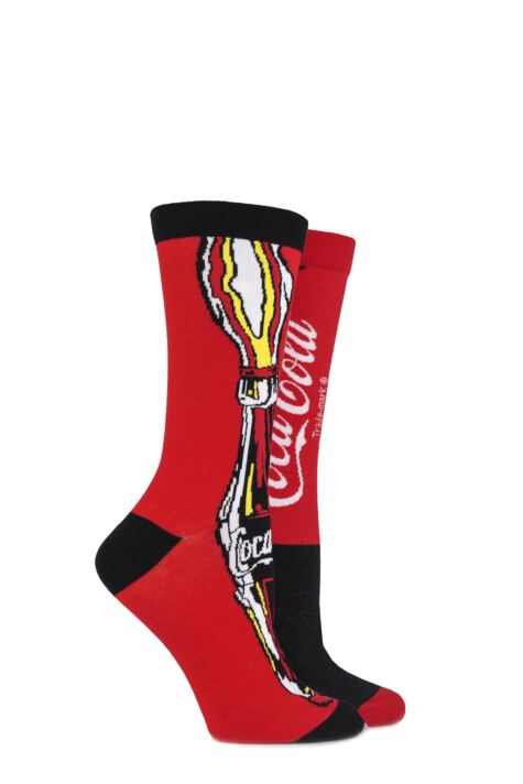 Ladies 2 Pair Coca Cola Bottle and Logo True Socks Product Image