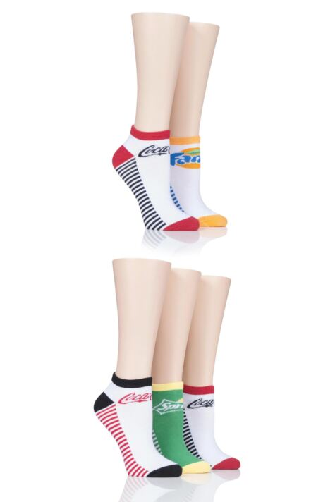 Ladies 5 Pair Coca Cola Shoe Liner Socks Product Image