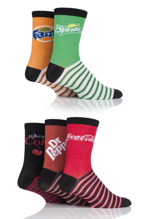 Mens and Ladies 5 Pair Coca-Cola, Dr Pepper, Fanta, Sprite and Cherry Coke Socks Product Image