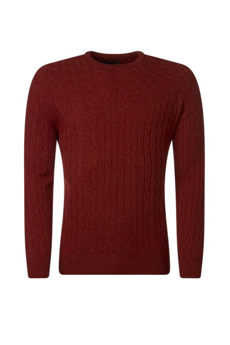 Mens Great & British Knitwear 100% Lambswool Cable & Rib Crew Neck Jumper Product Image