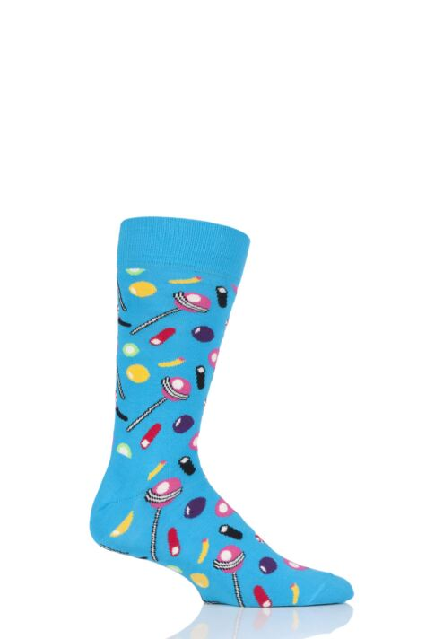 Mens and Ladies 1 Pair Happy Socks Junk Food Candy Combed Cotton Socks Product Image