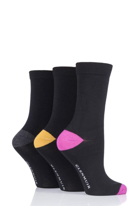 Ladies 3 Pair Glenmuir Contrast Heel and Toe Bamboo Socks Product Image