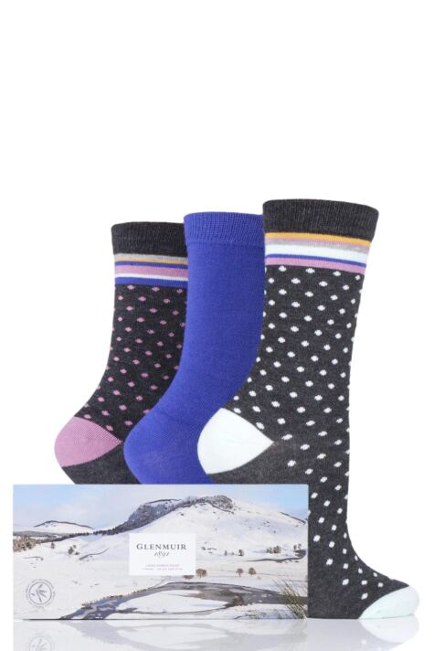 Ladies 3 Pair Glenmuir Dots and Plain Gift Boxed Bamboo Socks Product Image