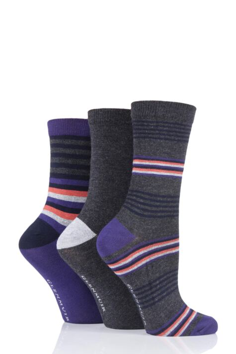 Ladies 3 Pair Glenmuir Multi Stripe and Plain Bamboo Socks Product Image