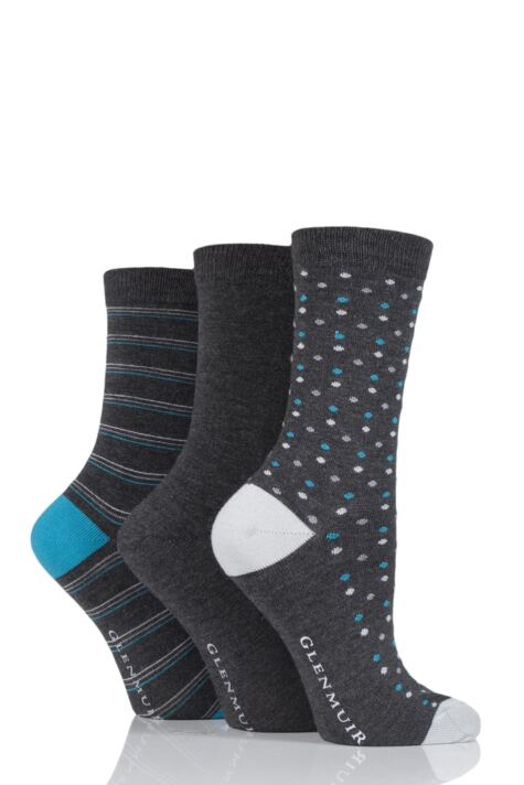 Ladies 3 Pair Glenmuir Fine Striped and Dot Bamboo Socks Product Image
