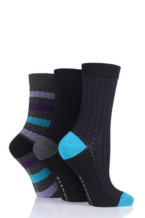 Ladies 3 Pair Glenmuir Texture and Stripe Bamboo Socks Product Image