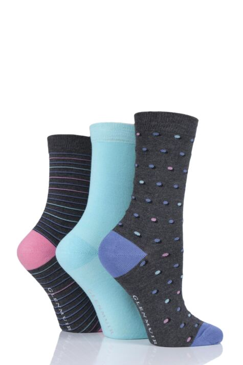 Ladies 3 Pair Glenmuir Dots and Stripes Bamboo Socks Product Image
