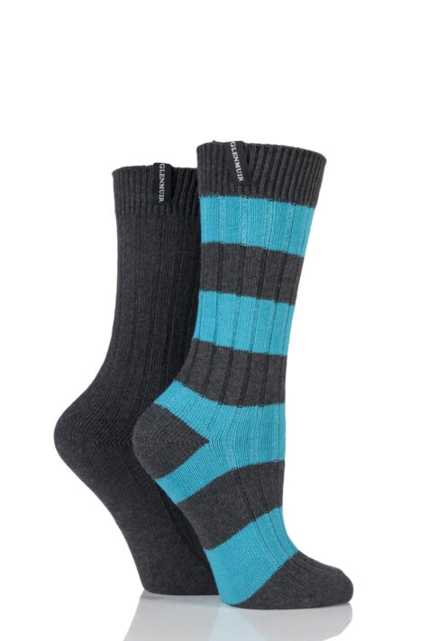 Ladies 2 Pair Glenmuir Block Stripe and Plain Cotton Blend Leisure Socks Product Image