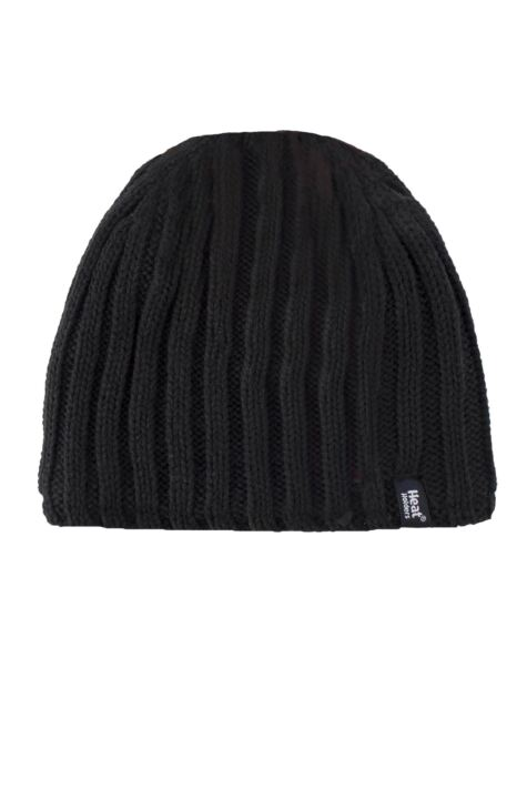 Mens 1 Pack Heat Holders 3.4 Tog Heatweaver Yarn Hat In Black Product Image