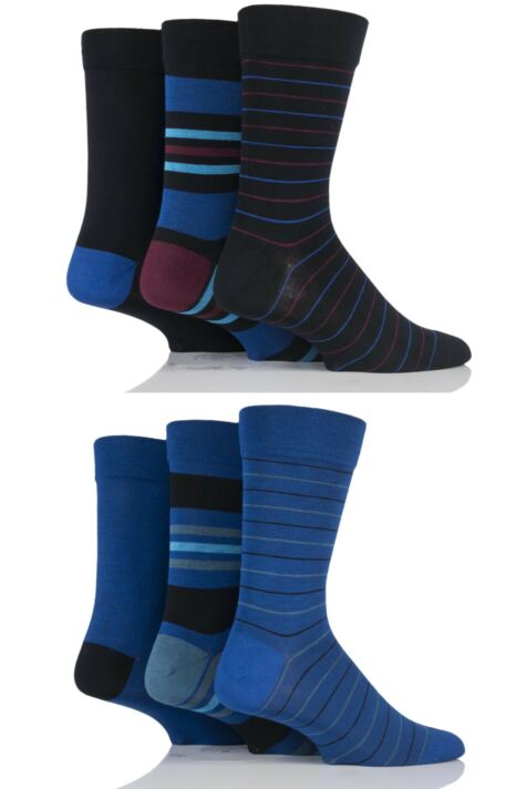Mens 6 Pair SockShop Comfort Cuff Plain Bamboo Socks with Smooth Toe Seams Product Image
