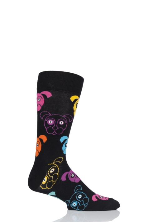 Mens and Ladies 1 Pair Happy Socks Dog and Cat Combed Cotton Socks Product Image