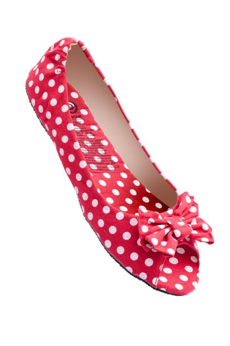 Ladies 1 Pair Rollasole Deluxe Range Dotty For You Red Polka Dot Shoes Product Image