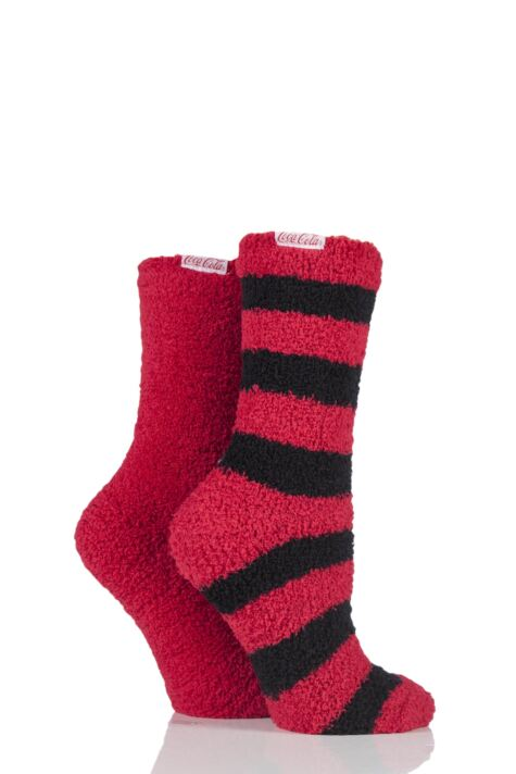Ladies 2 Pair Coca Cola Stripes and Plain Cosy Socks Product Image
