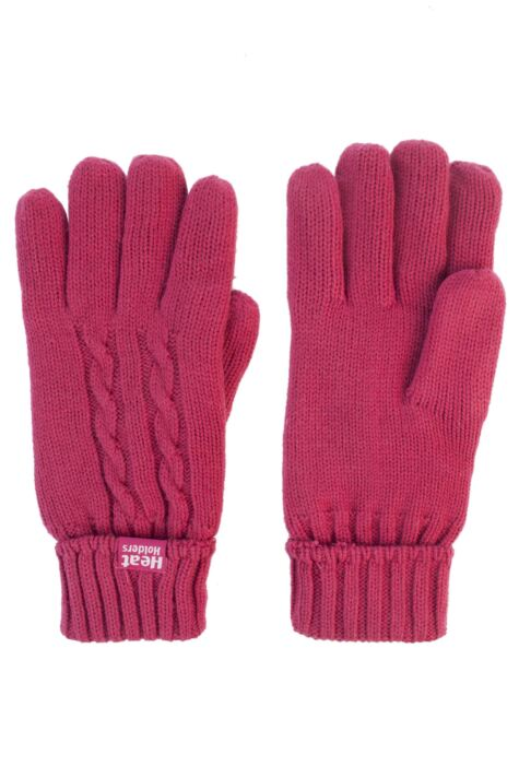 Ladies 1 Pair SOCKSHOP Heat Holders Cable Knit Gloves Product Image