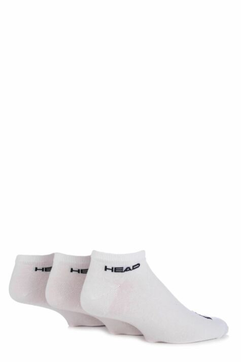Mens 3 Pair Head Plain Cotton Sport Sneaker Socks In White 25% OFF Product Image