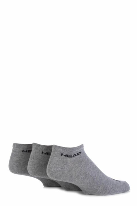 Mens 3 Pair Head Plain Cotton Sport Sneaker Socks In Grey Product Image
