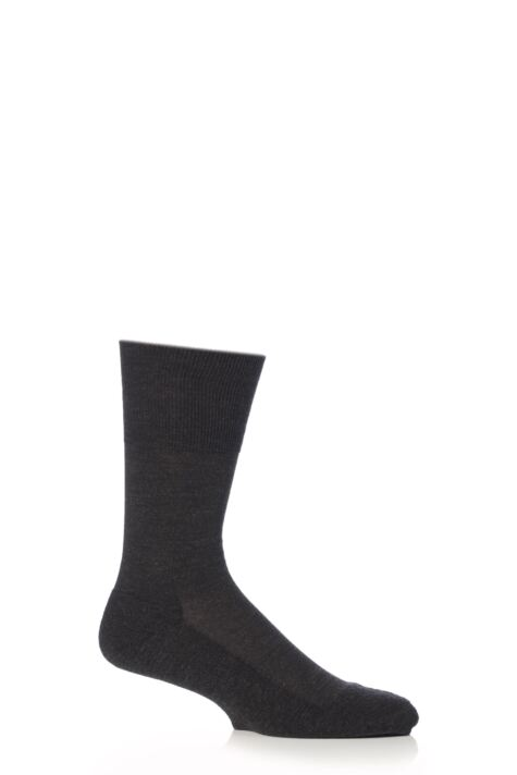 Mens 1 Pair Falke Airport Plus Plain Virgin Wool and Cotton Cushioned Business Socks Product Image