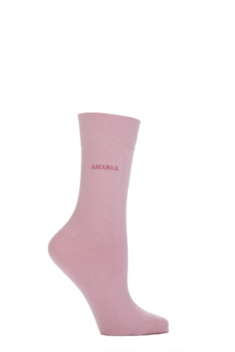 Ladies 1 Pair SockShop Individual Names Pink Embroidered Socks Product Image