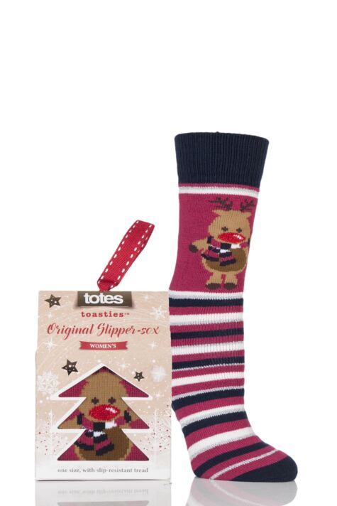 Ladies 1 Pair Totes Original Christmas Novelty Reindeer Stripe Slipper Socks with Grip Product Image