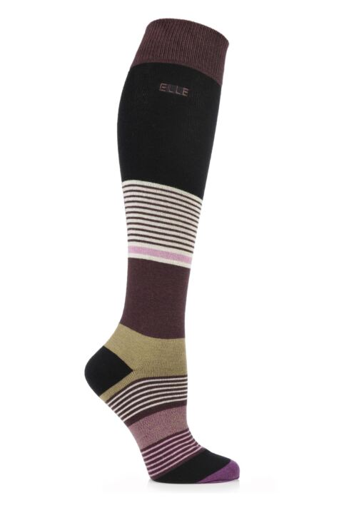 Ladies 1 Pair Elle Wool and Viscose Striped Knee High Socks Product Image