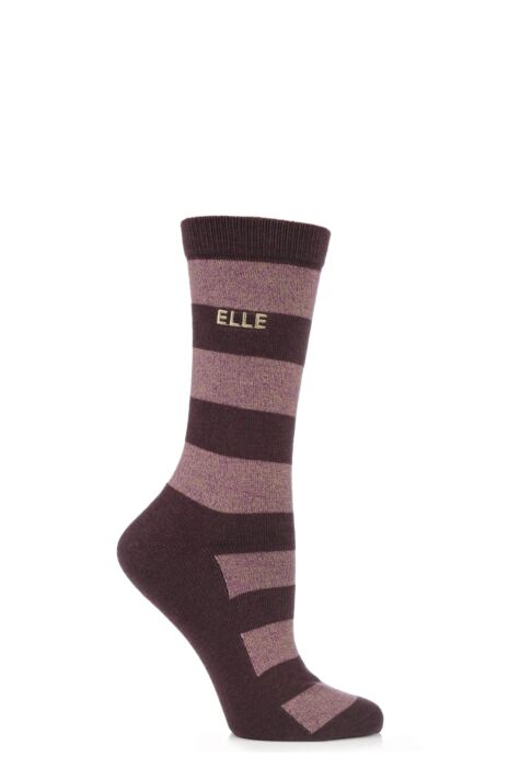 Ladies 1 Pair Elle Wool and Viscose Striped Socks Product Image