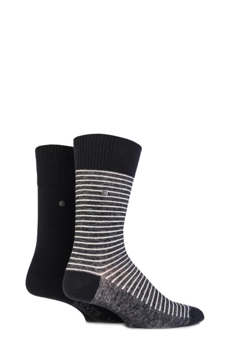 Mens 2 Pair Levis 168SF Comfort Top Fine Striped Cotton Socks Product Image