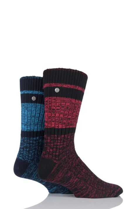 Mens 2 Pair Jeep Spirit Twist Knit Cotton Rich Socks Product Image