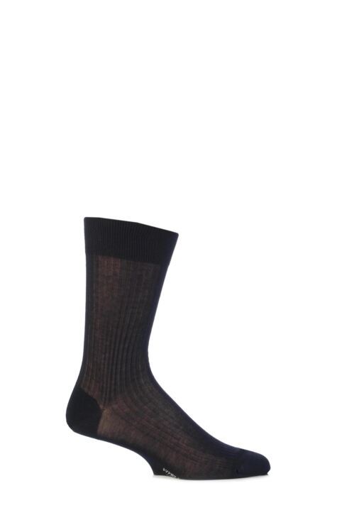 Mens 1 Pair Viyella Short Mercerised Cotton Socks With Hand Linked Toe Product Image
