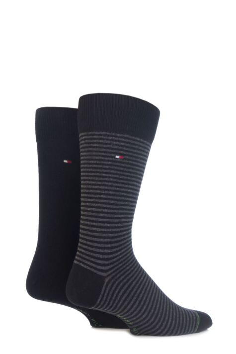 Mens 2 Pair Tommy Hilfiger Small Stripe Cotton Socks Product Image
