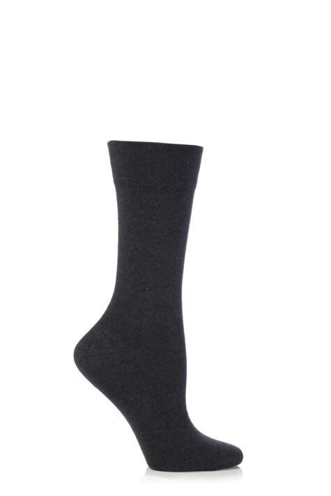 Ladies 1 Pair Falke Sensitive London Left And Right Comfort Cuff Cotton Socks Product Image