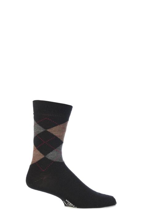 Mens 1 Pair Viyella Short Wool Argyle Socks Made In England Product Image
