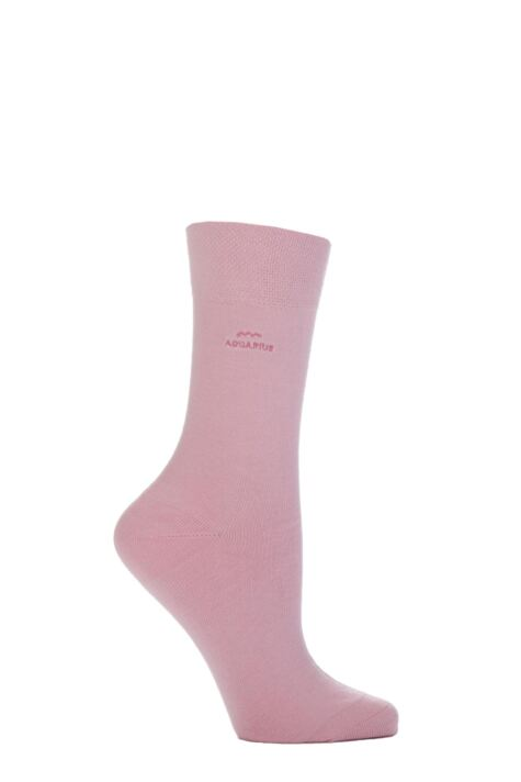 Ladies 1 Pair SockShop Individual Signs Of The Zodiac Pink Embroidered Socks Product Image