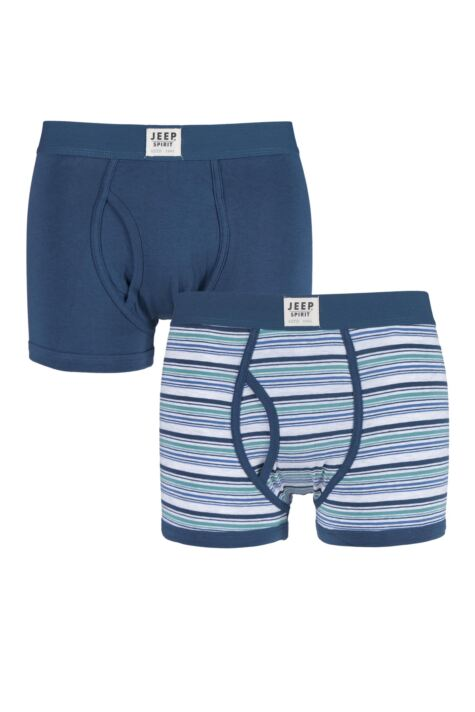 Mens 2 Pack Jeep Spirit Stripe and Plain Cotton Rich Keyhole Trunks Product Image