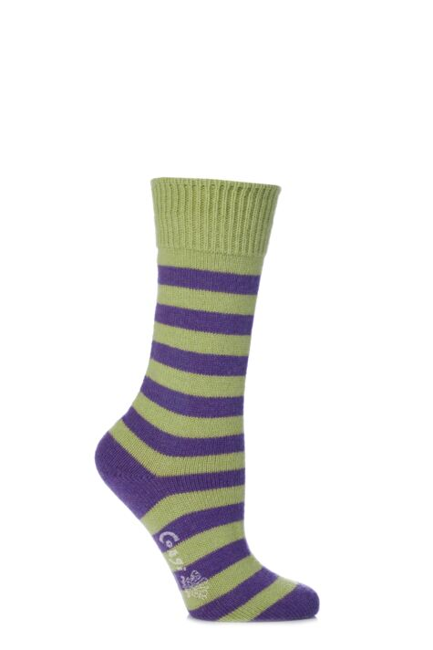Ladies 1 Pair Corgi Cashmere and Cotton Block Striped Socks Product Image