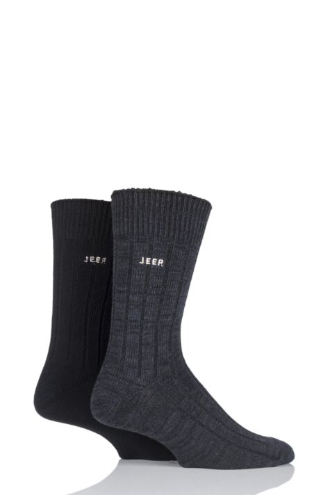 Mens 2 Pair Jeep Spirit Twisted Colour Cotton Socks Product Image