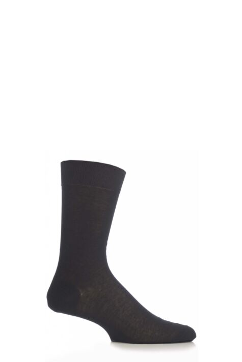 Mens 1 Pair Pantherella Plain 100% Cotton Lisle Socks Product Image