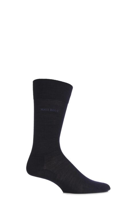 Mens 1 Pair BOSS John Plain Fine Wool and Soft Cotton Comfort Cuff Socks Product Image