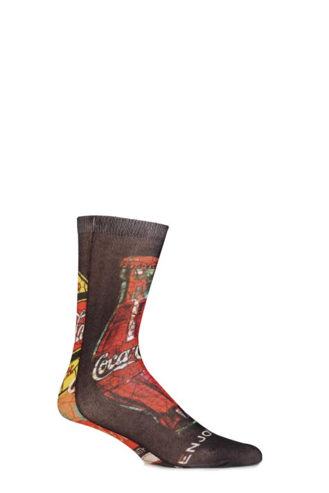 Mens 1 Pair Coca Cola Cracked Image Printed Socks Product Image